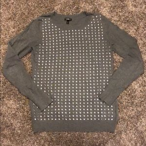 Ladies gray studded sweater